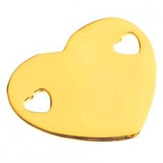 Bracelet empreinte coeur 2 trous coeur sur double chaîne 14 cm (or jaune 750°)
