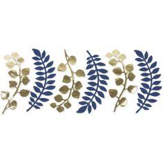 Lot de 6 décorations fougère et eucalyptus bleu et doré