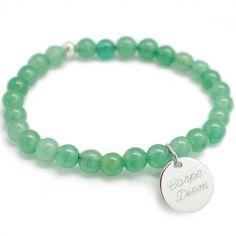 Bracelet de perles vert d'eau personnalisable (argent 925° et agate)