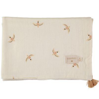 Couverture d'été bébé Haiku birds (70 x 100 cm)  par Nobodinoz