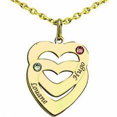 Pendentif coeur superposé avec Swarovski (or jaune 750°)