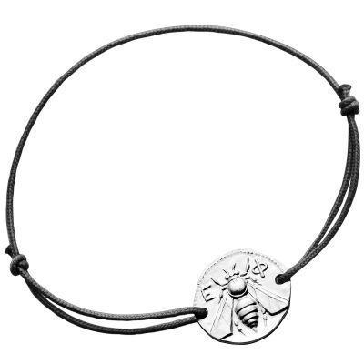 Bracelet cordon noir Abeille d'Ephèse 18 mm (argent 950°)  par Monnaie de Paris