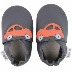 Chaussons en cuir Soft soles bleu marine voiture orange (9-15 mois)