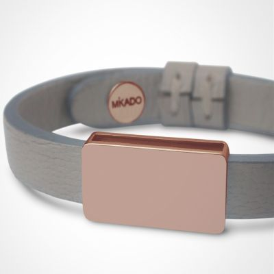 Bracelet cuir Hip-Hop Gris (or rose 750° et cuir)  par Mikado