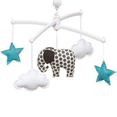Mobile musical éléphant noir et blanc (mélodie au choix)  par Pouce et Lina