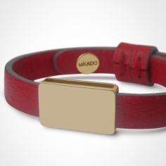 Bracelet cuir Hip-Hop Cerise (or jaune 750° et cuir)