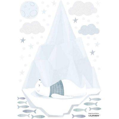 Stickers ours endormi sur un iceberg (29,7 x 42 cm)