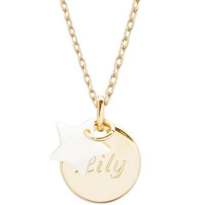 Collier enfant médaille et étoile en nacre personnalisable (plaqué or)  par Petits trésors