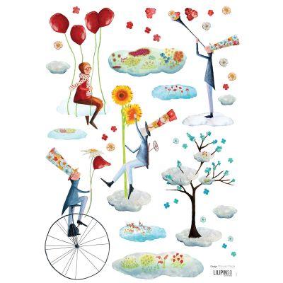 Planche de stickers Les jardiniers du ciel by Manuela Magni (29,7 x 42 cm)  par Lilipinso