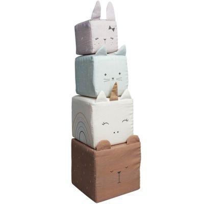 Cubes à empiler en coton bio animaux  par Fabelab