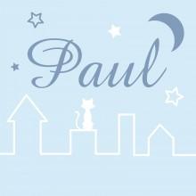 Tableau nuit bleu ciel Paul personnalisable (20 x 20 cm)  par Home Corner