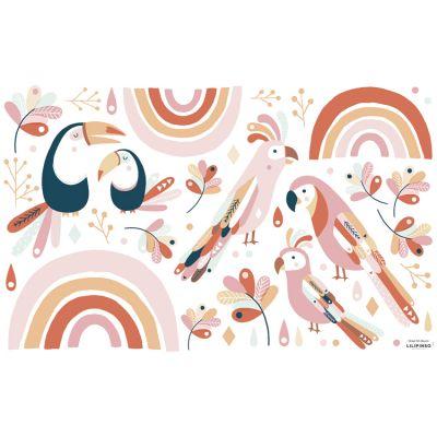Grand sticker Paradisio oiseaux exotiques rose et orange (64 x 40 cm)  par Lilipinso