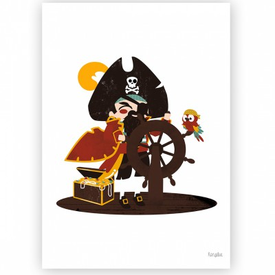 Affiche A3 Le capitaine Pirate  par Kanzilue