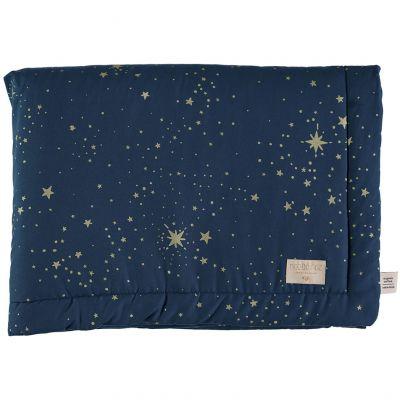 Mini couverture bébé Laponia coton bio Gold stella Night blue (70 x 70 cm)  par Nobodinoz
