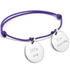 Bracelet cordon Petits Trésors médaille (argent 925°)