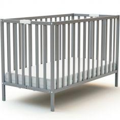 Lit pliable en bois de hêtre Essentiel gris (60 x 120 cm)