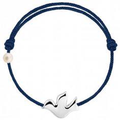 Bracelet cordon Colombe et perle bleu marine (or blanc 750°)