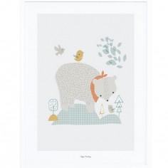 Affiche encadrée l'ours des bois (30 x 40 cm)