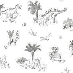 Papier peint intissé monochrome dinosaures (10 m)