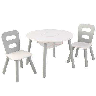 Ensemble table avec rangement et 2 chaises blanc et gris KidKraft