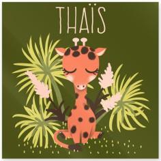 Plaque de porte carrée Les Animignons La girafe (personnalisable)