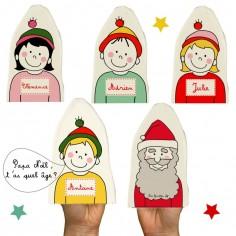 Lot de 5 marionnettes Père Noël (personnalisables)