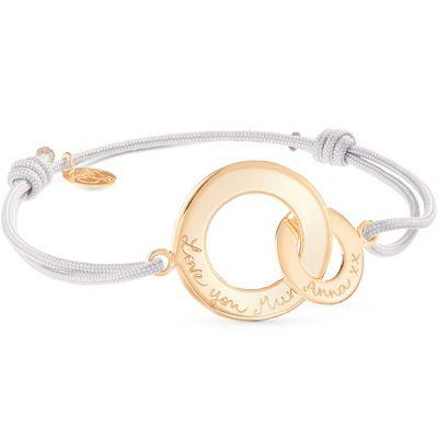 Bracelet sur cordon Anneaux entrelacés Maman personnalisable (plaqué or)  par Merci Maman