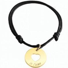 Bracelet cordon Accroche coeur (plaqué or jaune)