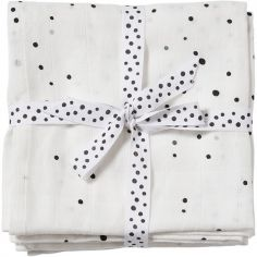 Lot de 2 maxi langes Dreamy dots blanc (120 x 120 cm)