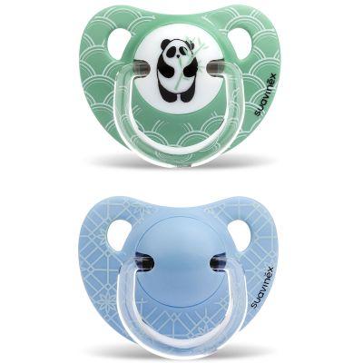 Lot de 2 sucettes physiologiques Panda vert et fleurs bleues en silicone garçon (6-18 mois)  par Suavinex
