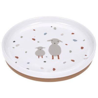 Assiette en porcelaine Tiny Farmer mouton et oie  par Lässig