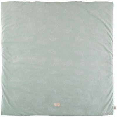 Tapis de parc Colorado coton bio White bubble Aqua (100 x 100 cm)  par Nobodinoz
