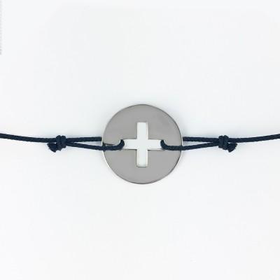 Bracelet cordon bébé médaille Signes Croix Latine 16 mm (or blanc 750°) Maison La Couronne