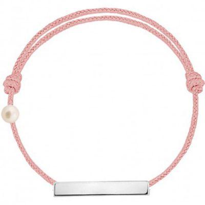Bracelet cordon Plaque et perle rose poudré (or blanc 750°)  par Claverin