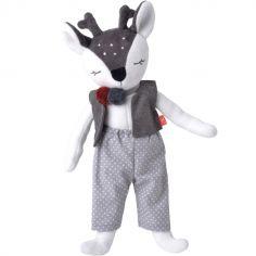 Poupée en coton bio Monsieur Faon gris (41 cm)