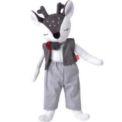 Poupée en coton bio Monsieur Faon gris (41 cm)  par Kikadu