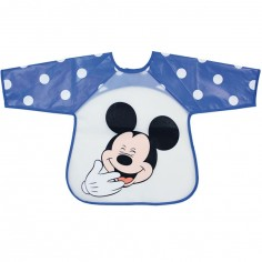 Bavoir tablier à manches Mickey bleu à pois