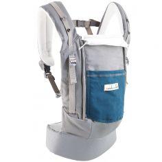Porte-bébé PhysioCarrier en imitation cuir gris et bleu paon