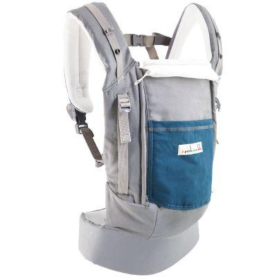 Porte-bébé PhysioCarrier en imitation cuir gris et bleu paon Je Porte Mon Bébé / Love Radius