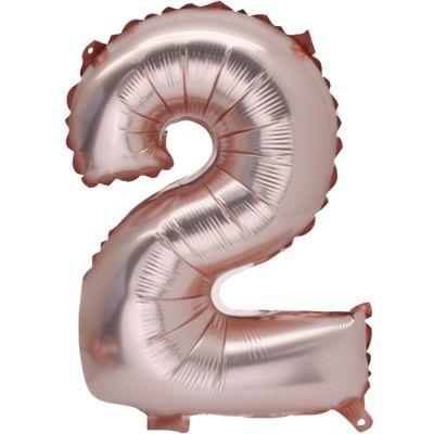 Grand ballon en mylar chiffre 2 rose gold (86 cm)  par Arty Fêtes Factory