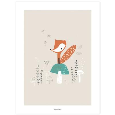 Affiche renard et champignons des bois (30 x 40 cm)  par Lilipinso