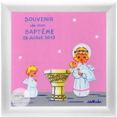 Tableau Souvenir de baptême rose personnalisable (15 x 15 cm)
