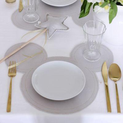 Set De Table Mickey En Lin Gris Clair Et Argente