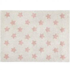 Tapis rectangulaire Estrellas étoile écru et rose (120 x 160 cm)