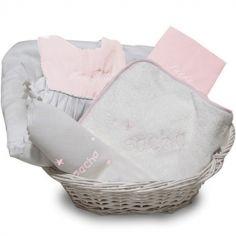 Coffret de naissance corbeille rose (personnalisable)