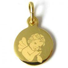 Médaille Ange pensif garçon (plaqué or jaune)  par Martineau