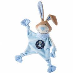 Doudou plat lapin signe lion bleu (19 cm)