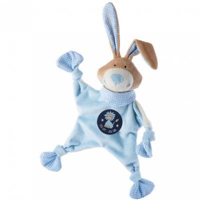 Doudou plat lapin signe lion bleu (19 cm) Sigikid