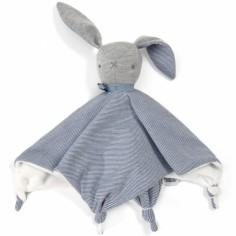 Doudou plat Welcome to The World lapin bleu (28 x 30 cm)