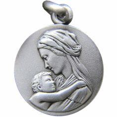 Médaille Vierge enfant tendresse (argent 925°)